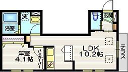 中目黒 コーポラス 1階1LDKの間取り