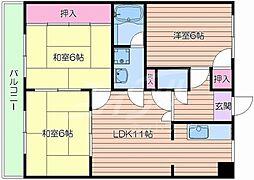 JR東海道・山陽本線 岸辺駅 徒歩26分の賃貸マンション 3階3LDKの間取り