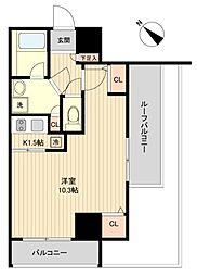 都営大江戸線 月島駅 徒歩2分の賃貸マンション 9階1Kの間取り