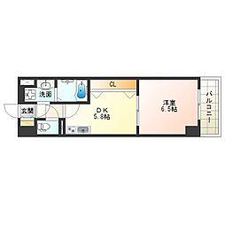 阪神本線 淀川駅 徒歩5分の賃貸マンション 5階1DKの間取り