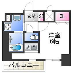 スプランディッド難波元町DUE 13階ワンルームの間取り