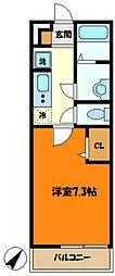 東急田園都市線 高津駅 徒歩12分の賃貸アパート 2階1Kの間取り