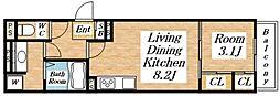 JR大阪環状線 桃谷駅 徒歩4分の賃貸アパート 3階1LDKの間取り