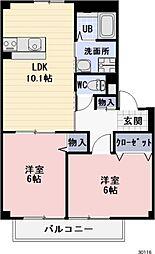 静岡県焼津市吉永の賃貸アパートの間取り