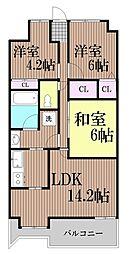 東京都大田区大森北5丁目の賃貸マンションの間取り