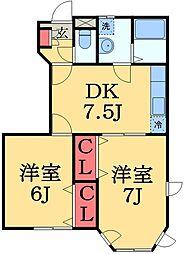 千葉県大網白里市みずほ台3丁目の賃貸アパートの間取り