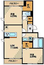 仮)D-room長峰A棟 3階2LDKの間取り