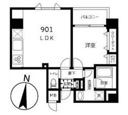 (仮称)JU TOWER FRONT 北斎St 9階1LDKの間取り
