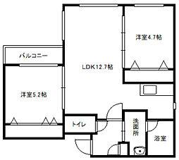 aoakua白石[3階]の間取り