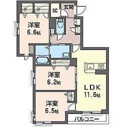 座間市栗原中央1丁目マンション (仮) 2階3LDKの間取り