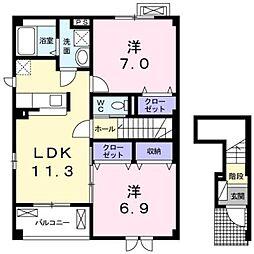 南海高野線 萩原天神駅 徒歩19分の賃貸アパート 2階2LDKの間取り