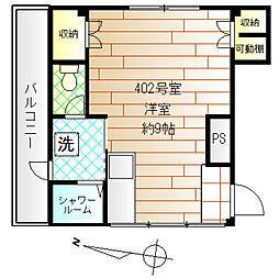 東京メトロ丸ノ内線 新高円寺駅 徒歩3分の賃貸マンション 4階ワンルームの間取り