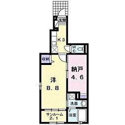 近鉄南大阪線 高見ノ里駅 徒歩24分の賃貸アパート 1階1SKの間取り