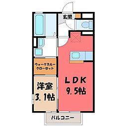 栃木県河内郡上三川町しらさぎ2丁目の賃貸アパートの間取り