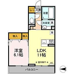 Canon 桜 2階1LDKの間取り