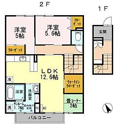富山県富山市秋吉新町の賃貸アパートの間取り