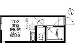 カナーレ鶴見A・B棟[202号室]の間取り