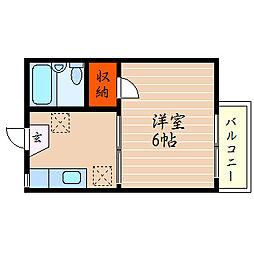 滋賀県彦根市松原1丁目の賃貸アパートの間取り