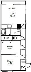 ビックバーンズマンション北郷IIID棟[401号室]の間取り