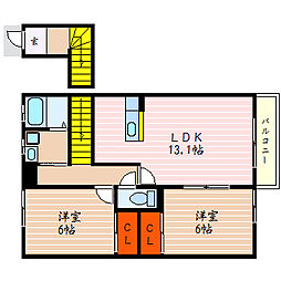 滋賀県彦根市宇尾町の賃貸アパートの間取り