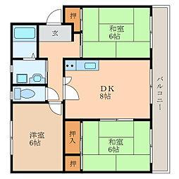 滋賀県栗東市小平井2丁目の賃貸マンションの間取り