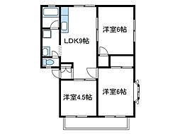 神奈川県綾瀬市寺尾中1の賃貸アパートの間取り