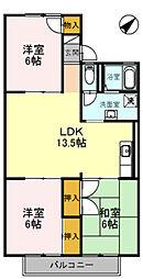 南海高野線 河内長野駅 徒歩12分の賃貸アパート 1階3LDKの間取り