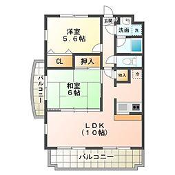 愛知県豊橋市西小鷹野2丁目の賃貸マンションの間取り