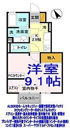 栃木県小山市神鳥谷4の賃貸アパートの間取り