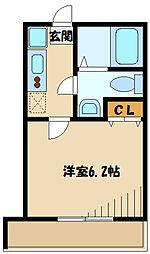 小田急小田原線 登戸駅 徒歩5分の賃貸アパート 2階1Kの間取り