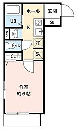 JR常磐線 松戸駅 徒歩5分の賃貸アパート 3階1Kの間取り