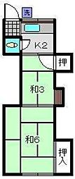 神奈川県横浜市保土ケ谷区上星川1丁目の賃貸アパートの間取り