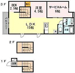 セリカハウス 3階1LDKの間取り