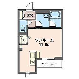 仮)幸区柳町シャーメゾン 4階ワンルームの間取り