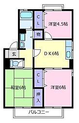 大阪府松原市東新町1の賃貸アパートの間取り