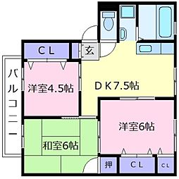 ALLEY島泉131B[2階]の間取り