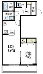 JR南武線 久地駅 徒歩8分の賃貸アパート 2階1LDKの間取り