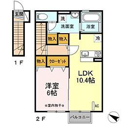 ソレイユ福原 B[2階]の間取り