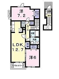 ヴィラ和泉砂川II 2階2LDKの間取り