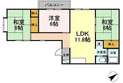 JR横須賀線 新川崎駅 徒歩14分の賃貸マンション 3階3LDKの間取り