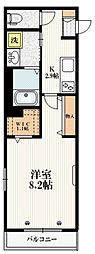 JR埼京線 赤羽駅 徒歩15分の賃貸マンション 3階1Kの間取り
