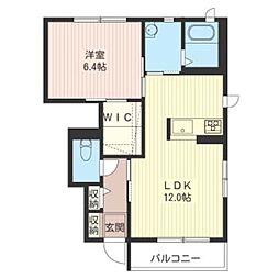 東京都武蔵村山市大南1丁目の賃貸アパートの間取り