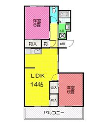 平川ガーデンハイツ[2階]の間取り