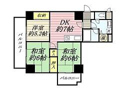 ライオンズマンション博多[4階]の間取り