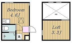 アルファ生田1号棟 2階ワンルームの間取り