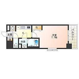 JR東西線 海老江駅 徒歩11分の賃貸マンション 10階1Kの間取り