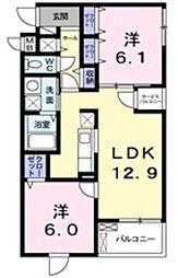 埼玉新都市交通 今羽駅 徒歩9分の賃貸マンション 3階2LDKの間取り