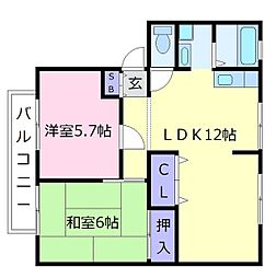 大阪府羽曳野市島泉1の賃貸アパートの間取り