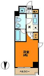 東急東横線 武蔵小杉駅 徒歩6分の賃貸マンション 5階1Kの間取り
