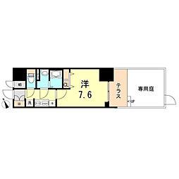 プレサンスTHE神戸 1階1Kの間取り